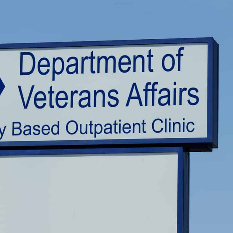 Sign that reads Department of Veterans Affairs, Outpatient Clinic