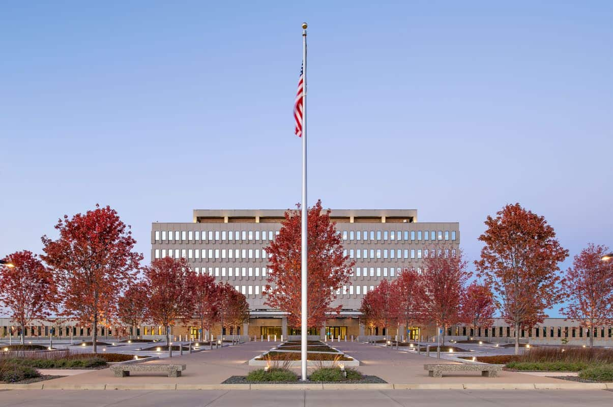 exterior of Whipple Federal building, with American flag out front